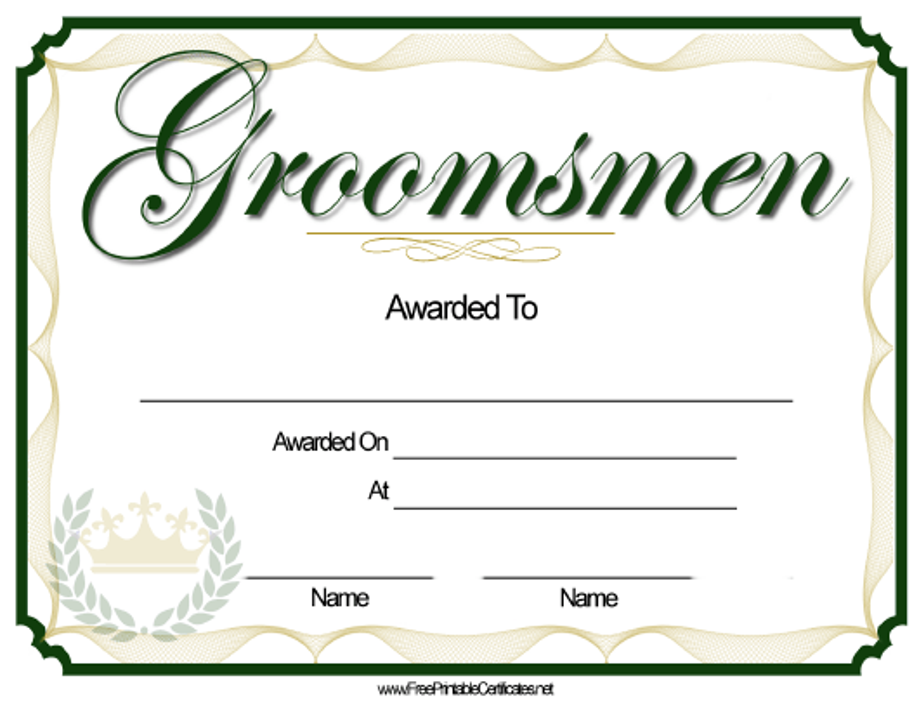 """Groomsmen Award Certificate Template"" Download Pdf"