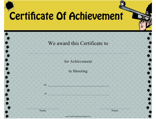 """Shooting Certificate of Achievement Template"" Download Pdf"