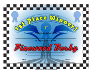 """Pinewood Derby 1st Place Certificate Template"""
