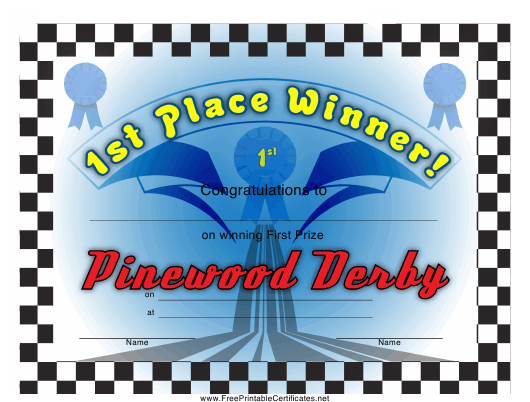 """""""Pinewood Derby 1st Place Certificate Template"""" Download Pdf"""