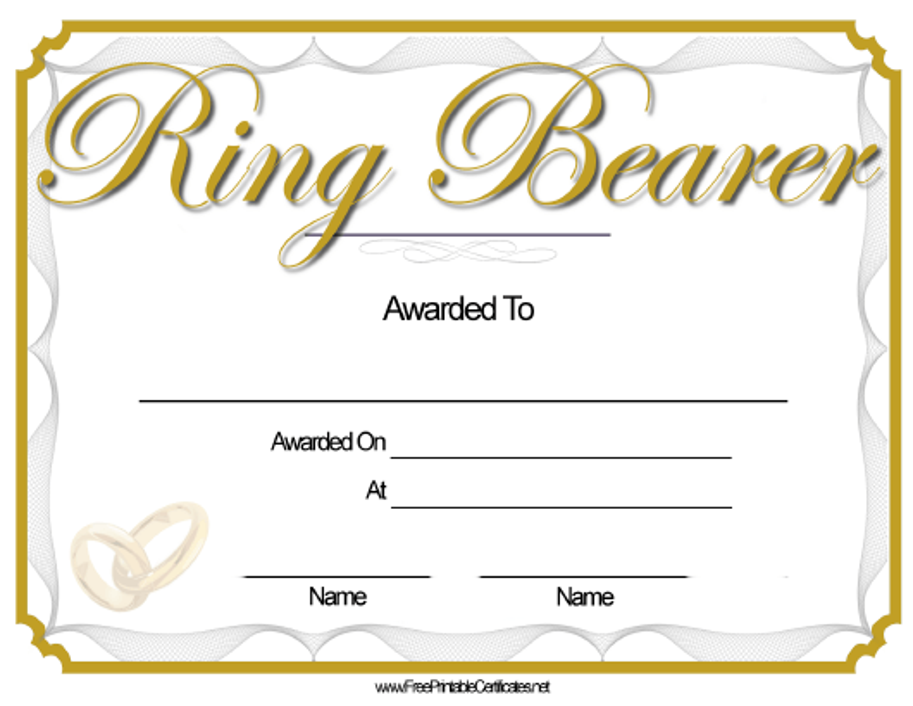 """Ring Bearer Award Certificate Template"" Download Pdf"