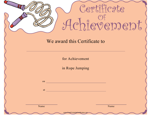"""""""Rope Jumping Certificate of Achievement Template"""" Download Pdf"""