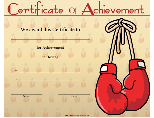 """Boxing Certificate of Achievement Template"" Download Pdf"