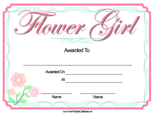 """Flower Girl Certificate Template"" Download Pdf"