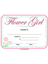 Flower Girl Certificate Template