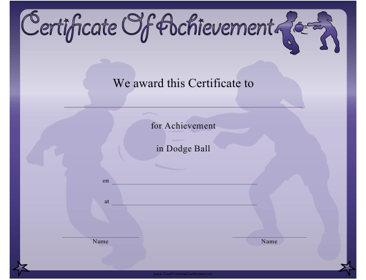 """Dodge Ball Certificate of Achievement Template"" Download Pdf"