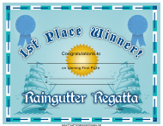 """Raingutter Regatta 1st Place Certificate Template"""
