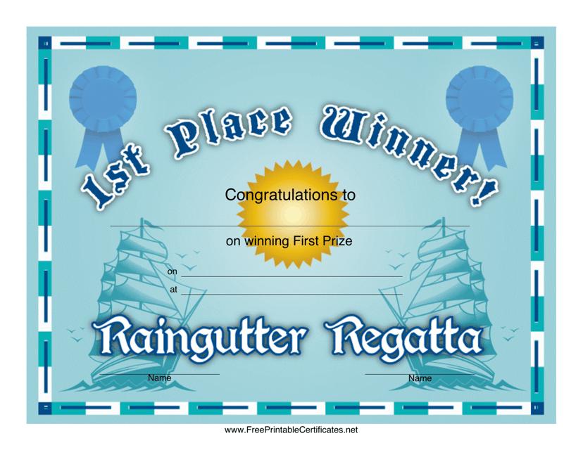 """Raingutter Regatta 1st Place Certificate Template"" Download Pdf"