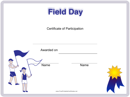 """Field Day Certificate of Participation Template"" Download Pdf"