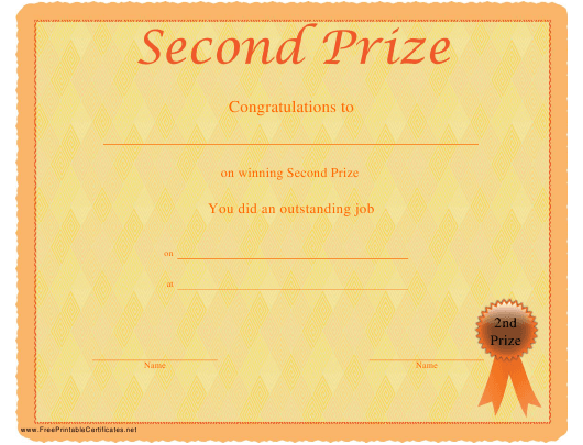 """Second Prize Certificate Template"" Download Pdf"
