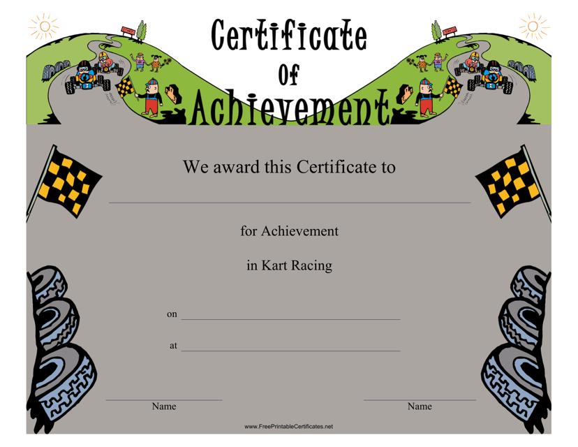"""Kart Racing Certificate of Achievement Template"" Download Pdf"