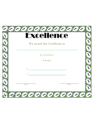 Rugby Certificate Of Achievement Template