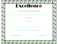 """""""Rugby Certificate of Achievement Template"""""""
