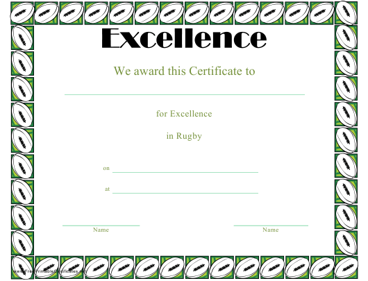 """""""Rugby Certificate of Achievement Template"""" Download Pdf"""