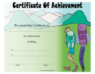 """Hiking Certificate of Achievement Template"""