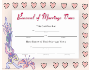 Renewal of Marriage Vows Certificate Template