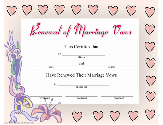 """""""Renewal of Marriage Vows Certificate Template"""" Download Pdf"""