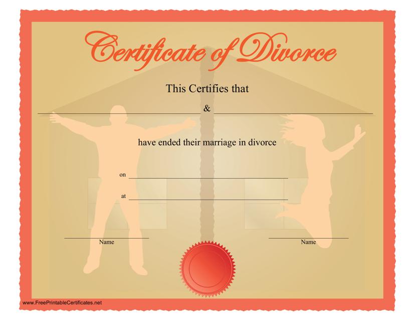 """Divorce Certificate Template"" Download Pdf"