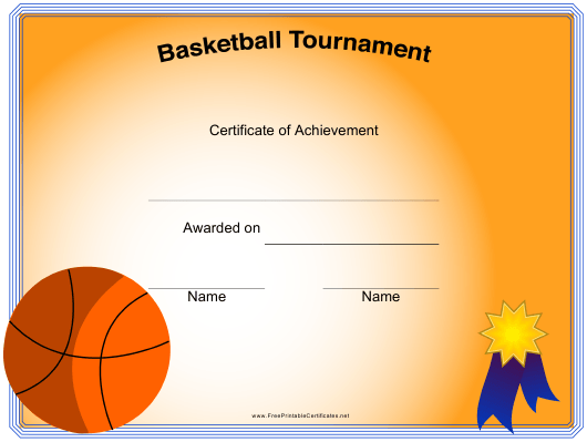 """Basketball Certificate of Achievement Template"" Download Pdf"