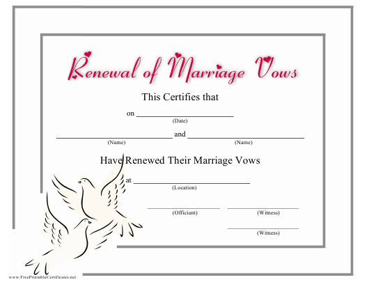 """Renewal of Marriage Vows Certificate Template"" Download Pdf"