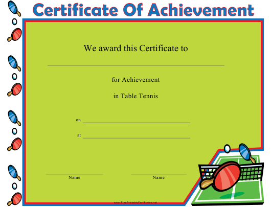 """Table Tennis Certificate of Achievement Template"" Download Pdf"