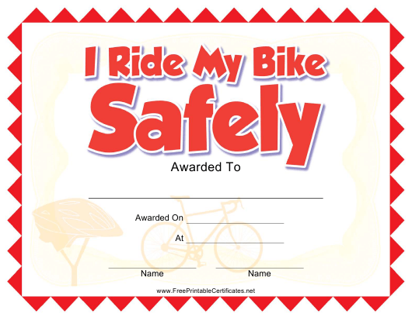 """Bike Riding Certificate Template"" Download Pdf"