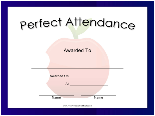 """Perfect Attendance Certificate Template"" Download Pdf"