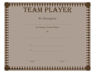 """Team Player Certificate Template"""