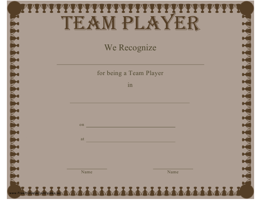 """Team Player Certificate Template"" Download Pdf"