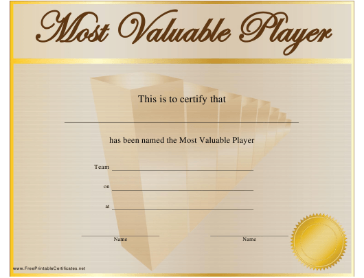 """Most Valuable Player Award Certificate Template"" Download Pdf"