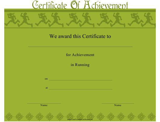 """Running Certificate of Achievement Template"" Download Pdf"