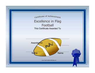 """Flag Football Certificate of Achievement Template"""