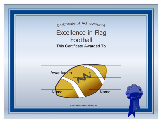 """Flag Football Certificate of Achievement Template"" Download Pdf"