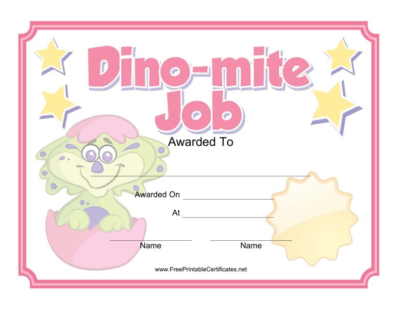 """Dino-Mite Job Certificate Template"" Download Pdf"