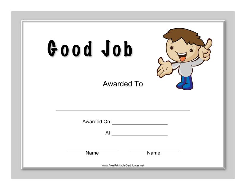 Good Job Certificate Template Download Pdf