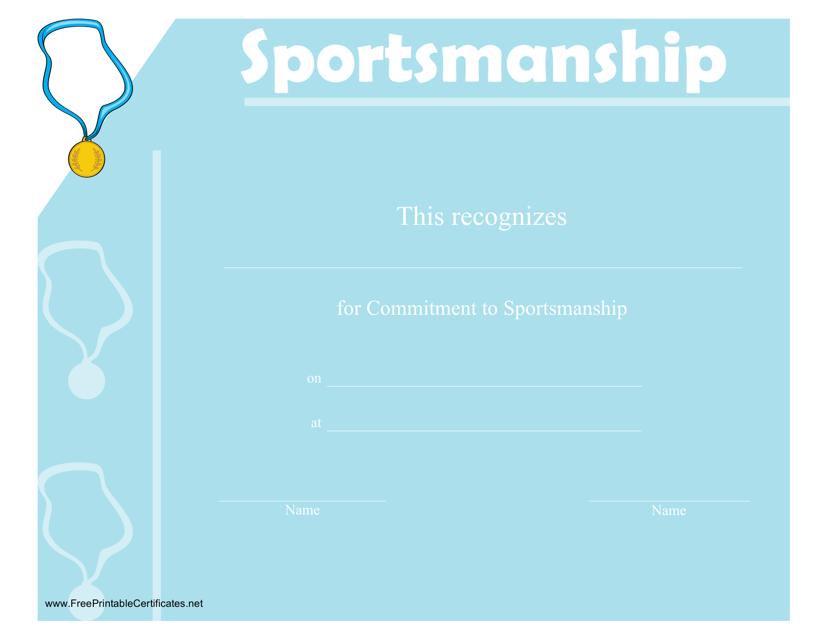 """Sportsmanship Certificate Template"" Download Pdf"