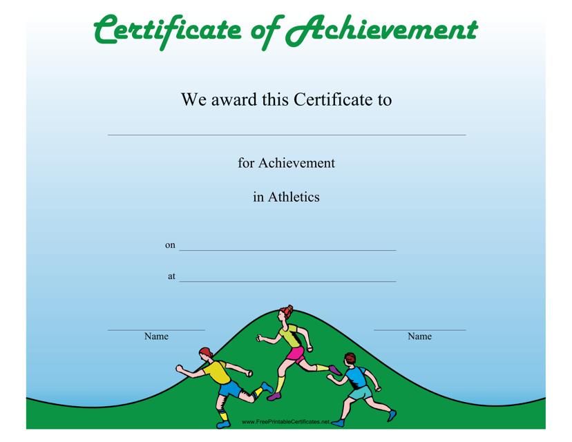 """Athletics Certificate of Achievement Template"" Download Pdf"