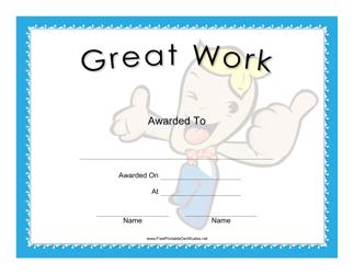 """Great Work Award Certificate Template"""