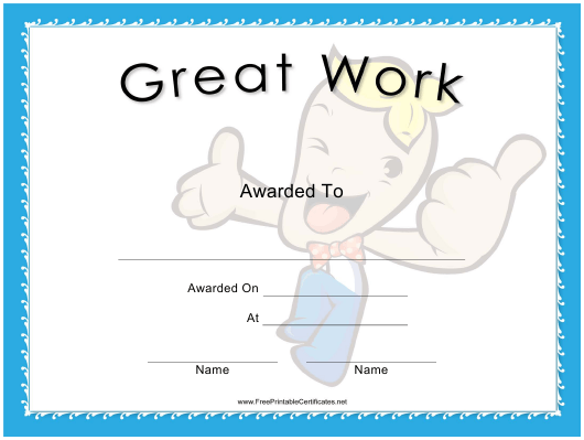 """Great Work Award Certificate Template"" Download Pdf"