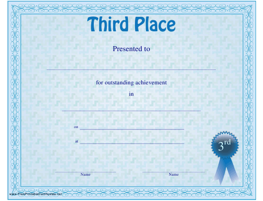 """Third Place Certificate Template"" Download Pdf"