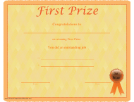 """First Prize Certificate Template"""