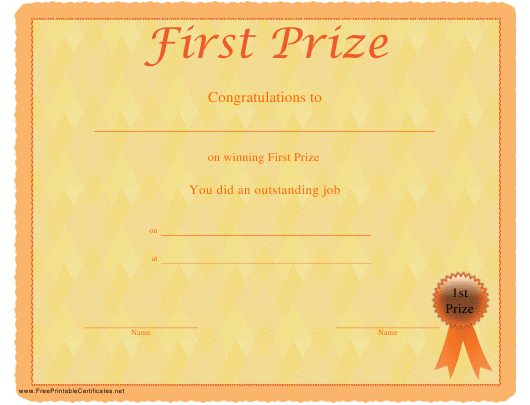 """First Prize Certificate Template"" Download Pdf"