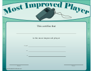 """""""Most Improved Player Certificate Template"""""""
