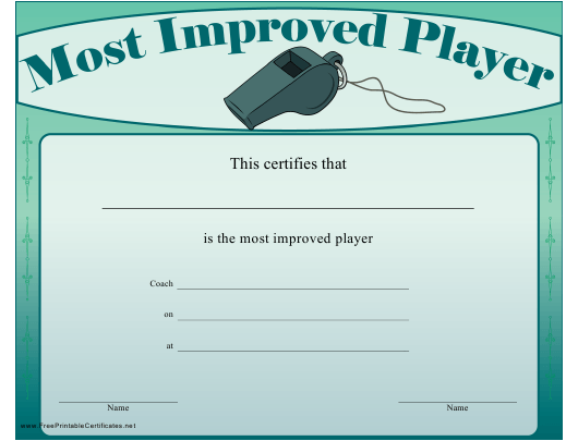 """Most Improved Player Certificate Template"" Download Pdf"
