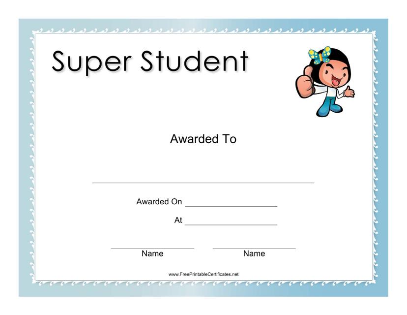 """Super Student Award Certificate Template"" Download Pdf"
