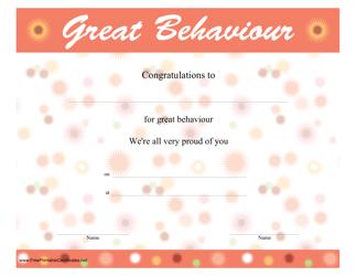 """Great Behaviour Certificate Template"""