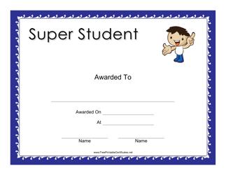"""Super Student Award Certificate Template"""