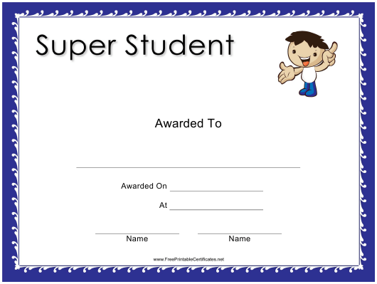 """Super Student Award Certificate Template"" Download Pdf"