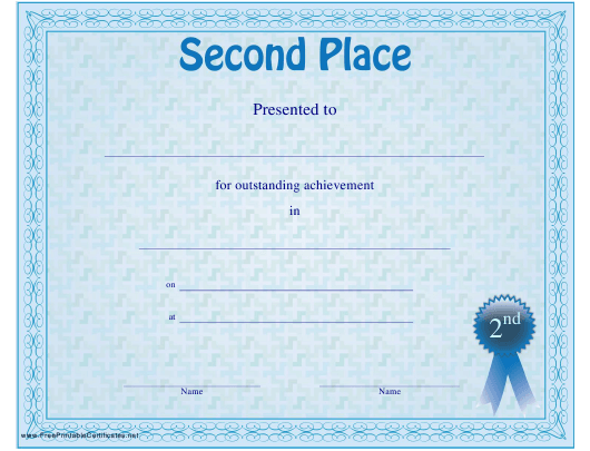 """Second Place Certificate Template"" Download Pdf"