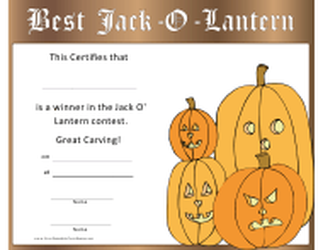 """Jack-O-lantern Halloween Pumpkin Carving Certificate Template"""